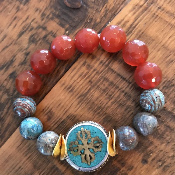 Crazy Lace Agate Beaded Gemstone Bracelet with Faceted Carnelian and a Turquoise Tibetan Disc